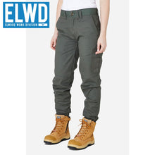 Load image into Gallery viewer, Elwd Workwear - Ladies Cuffed Pant Cotton/poly Army