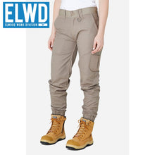 Load image into Gallery viewer, Elwd Workwear - Ladies Cuffed Pant Cotton/poly Stone