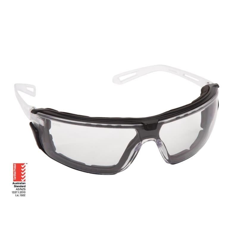 Force360 Air-G Clear Lens Safety Spectacle With Gasket Black/white Wear