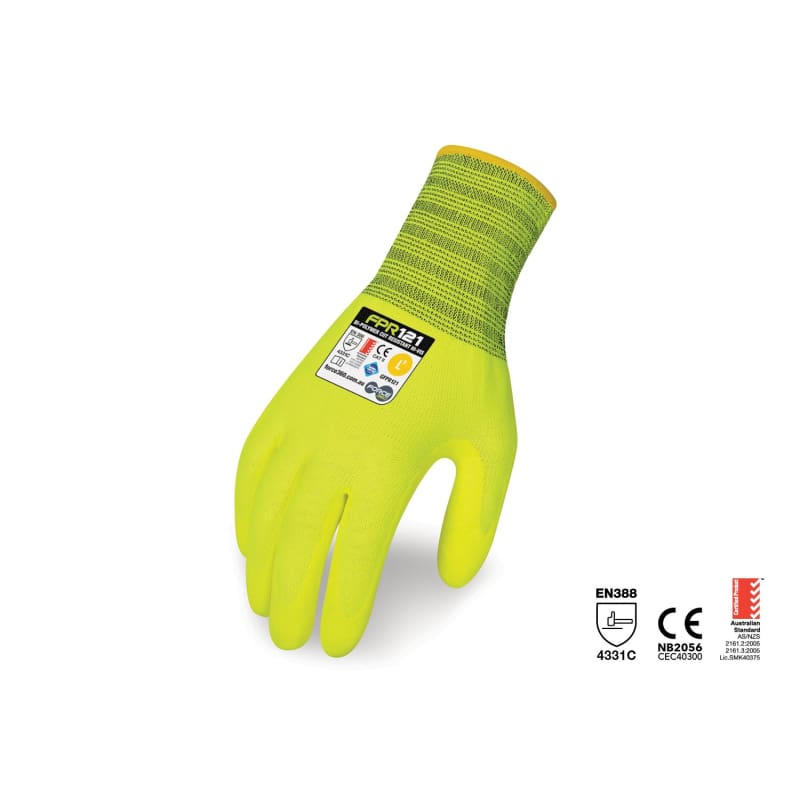 Force360 Bi-Polymer Cut Resistant Hi-Vis Glove Yellow Safety Wear