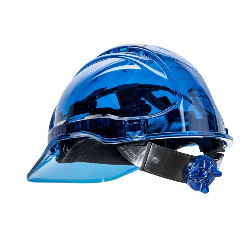 Force360 Clearview Hard Hat 6 Point Ratchet Harness Type 2 Blue Safety Wear