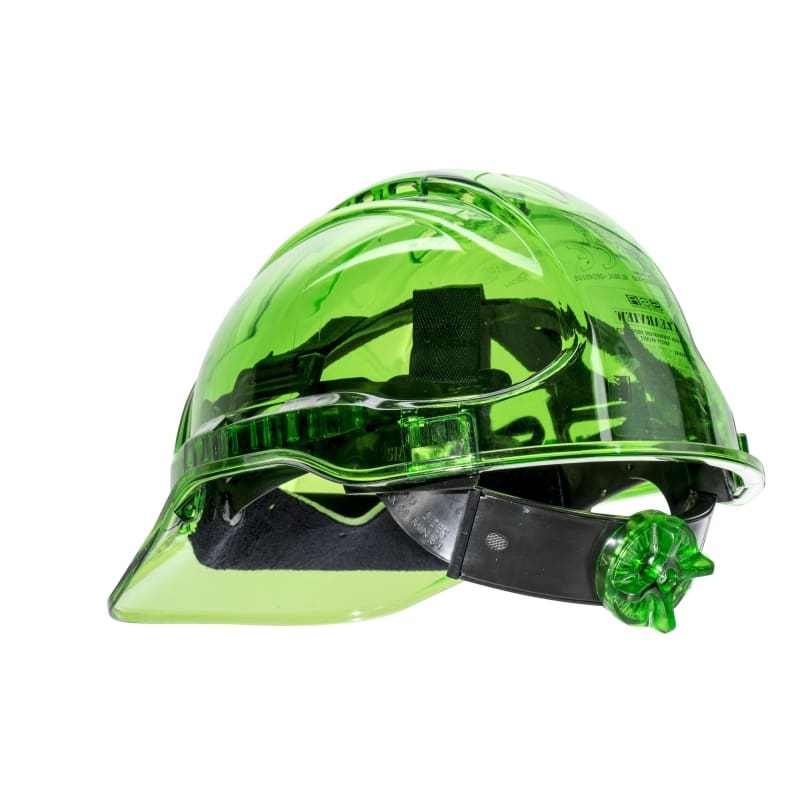 Force360 Clearview Hard Hat 6 Point Ratchet Harness Type 2 Green Safety Wear
