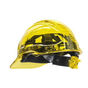 Force360 Clearview Hard Hat 6 Point Ratchet Harness Type 2 Yellow Safety Wear