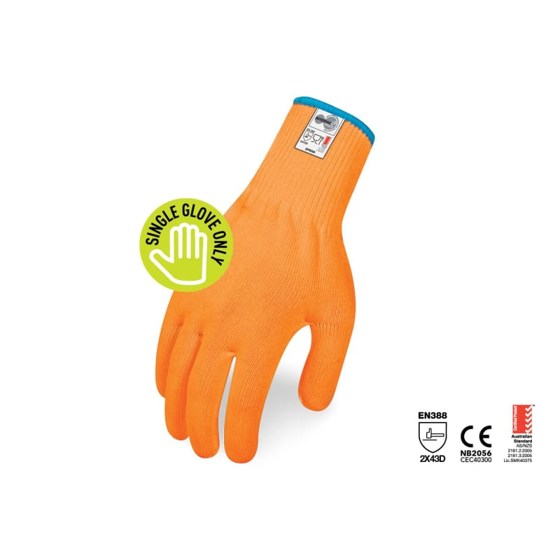 Force360 Cut 5 13 Gauge Food Glove Hi-Vis Orange Each Safety Wear