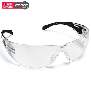 Force360 Eclipse Clear Lens Safety Spectacle Black/clear Wear