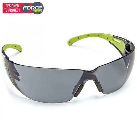 Force360 Eclipse Smoke Lens Safety Spectacle Lime Wear
