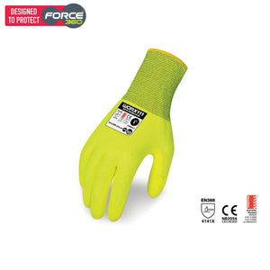 Force360 Eco Bi-Polymer Hi-Vis Glove Yellow Safety Wear