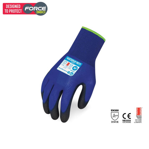 Force360 Eco Pu Glove Blue Safety Wear