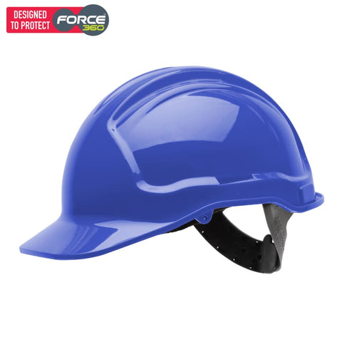 Force360 Economy Hard Hat Unvented Poly-Cradle Blue Safety Wear
