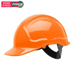 Force360 Economy Hard Hat Unvented Poly-Cradle Fluro Orange Safety Wear