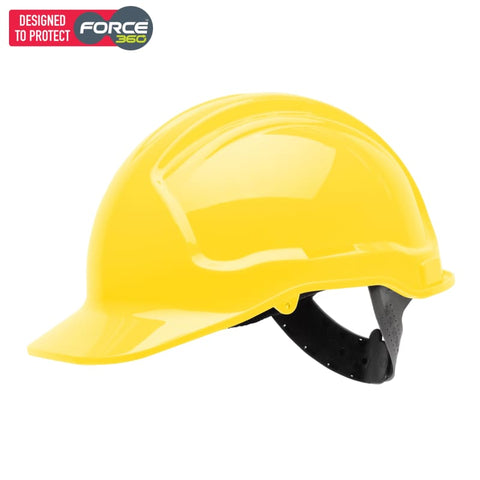 Force360 Economy Hard Hat Unvented Poly-Cradle Fluro Yellow Safety Wear