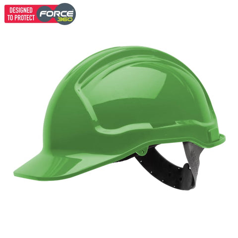Force360 Economy Hard Hat Unvented Poly-Cradle Green Safety Wear