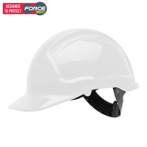 Force360 Economy Hard Hat Unvented Poly-Cradle White Safety Wear