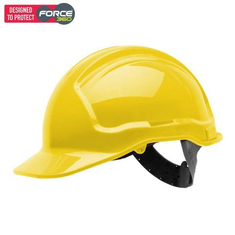Force360 Economy Hard Hat Unvented Poly-Cradle Yellow Safety Wear