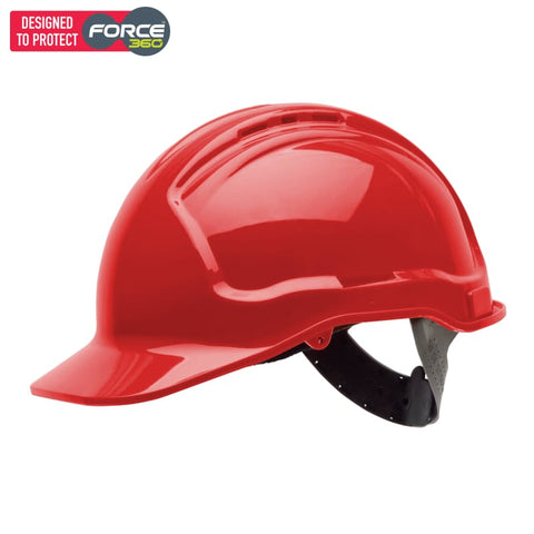 Force360 Economy Hard Hat Vented Poly-Cradle Red Safety Wear