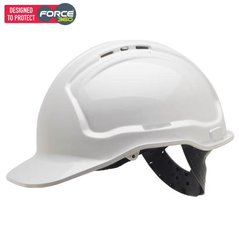 Force360 Economy Hard Hat Vented Poly-Cradle White Safety Wear