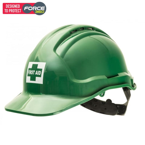 Force360 First Aid Hard Hat Green Safety Wear
