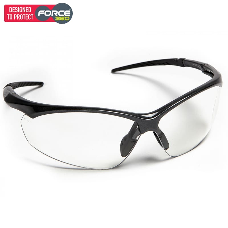 Force360 Flight Clear Lens Safety Spectacle Black Wear