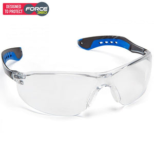 Force360 Glide Clear Lens Safety Spectacle Blue Wear