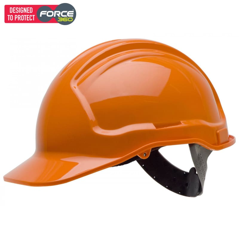 Force360 Hard Hat Unvented 6 Point Pinlock Harness Type 1 Orange Safety Wear