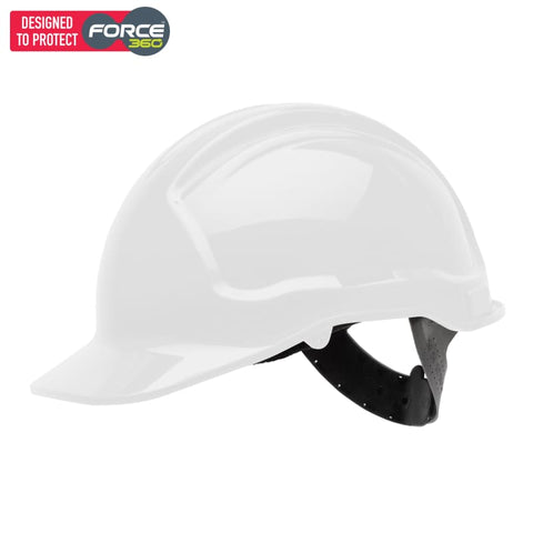 Force360 Hard Hat Unvented 6 Point Pinlock Harness Type 1 White Safety Wear