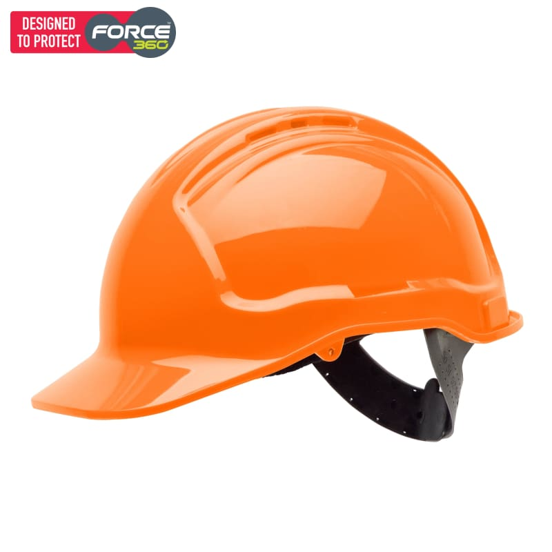 Force360 Hard Hat Vented 6 Point Pinlock Harness Type 1 Orange Fluro Safety Wear