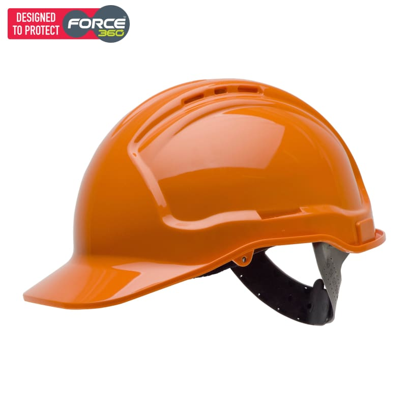Force360 Hard Hat Vented 6 Point Pinlock Harness Type 1 Orange Safety Wear