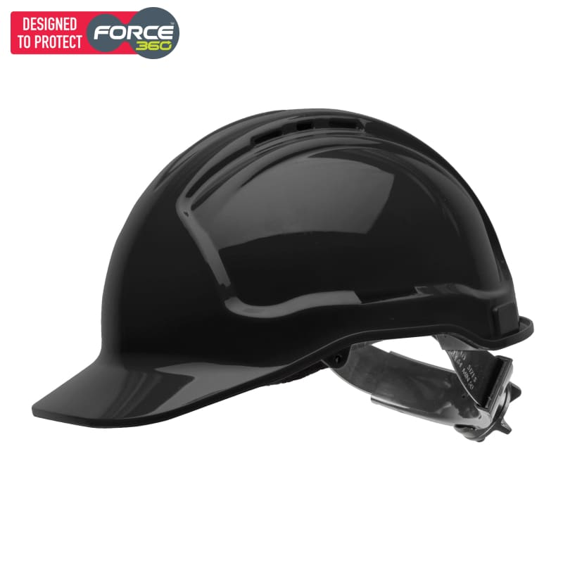 Force360 Hard Hat Vented 6 Ratchet Harness Type 1 Black Safety Wear