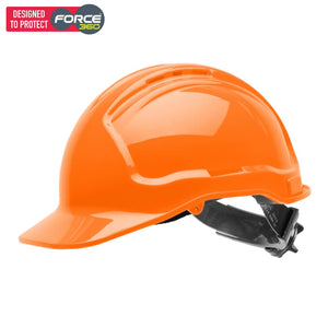 Force360 Hard Hat Vented 6 Ratchet Harness Type 1 Fluro Orange Safety Wear