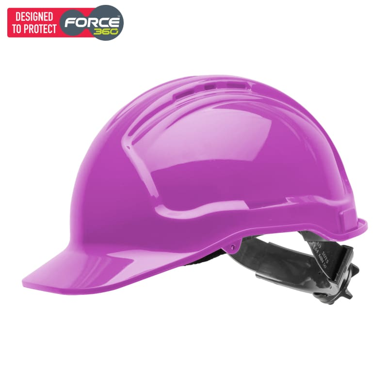 Force360 Hard Hat Vented 6 Ratchet Harness Type 1 Pink Safety Wear