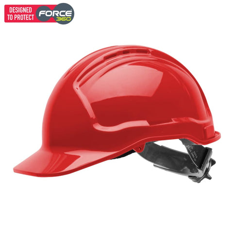 Force360 Hard Hat Vented 6 Ratchet Harness Type 1 Red Safety Wear