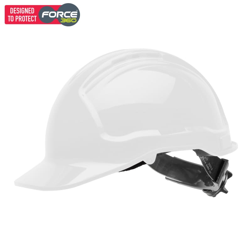 Force360 Hard Hat Vented 6 Ratchet Harness Type 1 White Safety Wear