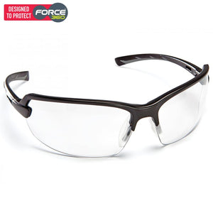 Force360 Horizon Clear Lens Safety Spectacle Black Wear