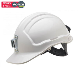 Force360 Miners Hard Hat Metal Lamp Bracket Unvented Type 1 White Safety Wear