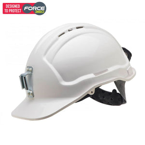 Force360 Miners Hard Hat Metal Lamp Bracket Vented Type 1 White Safety Wear