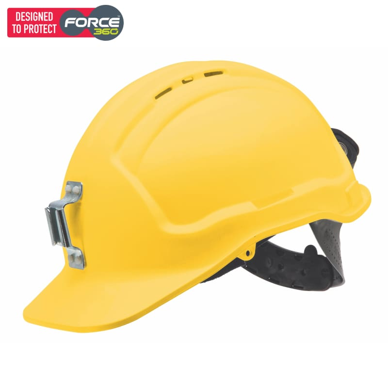 Force360 Miners Hard Hat Metal Lamp Bracket Vented Type 1 Yellow Safety Wear