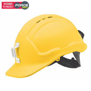Force360 Miners Hard Hat Poly Lamp Bracket Vented Type 1 Yellow Safety Wear