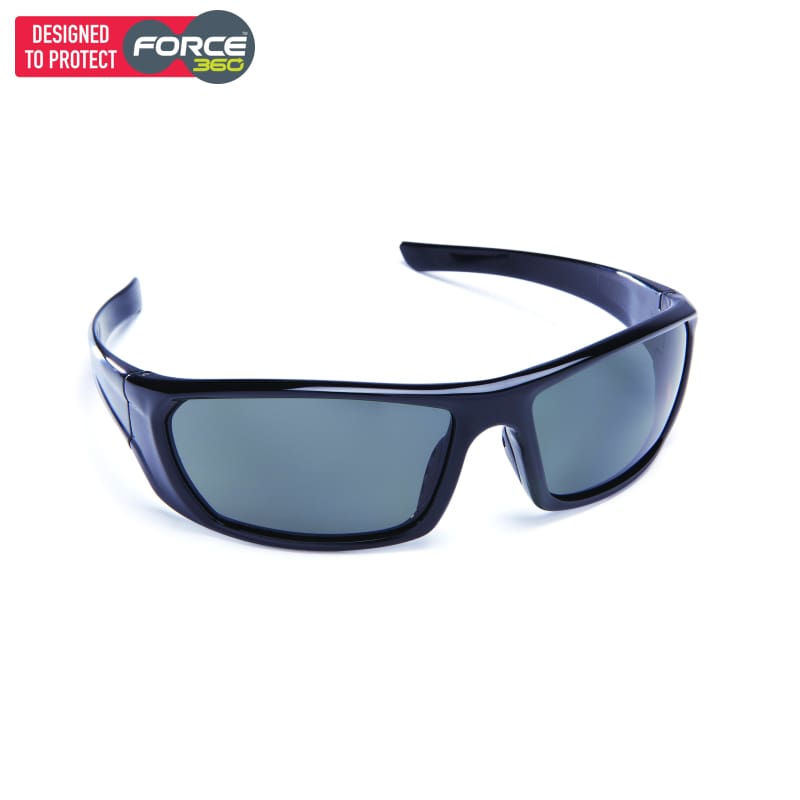 Force360 Mirage Smoke Polarised Lens Safety Spectacle Black Wear