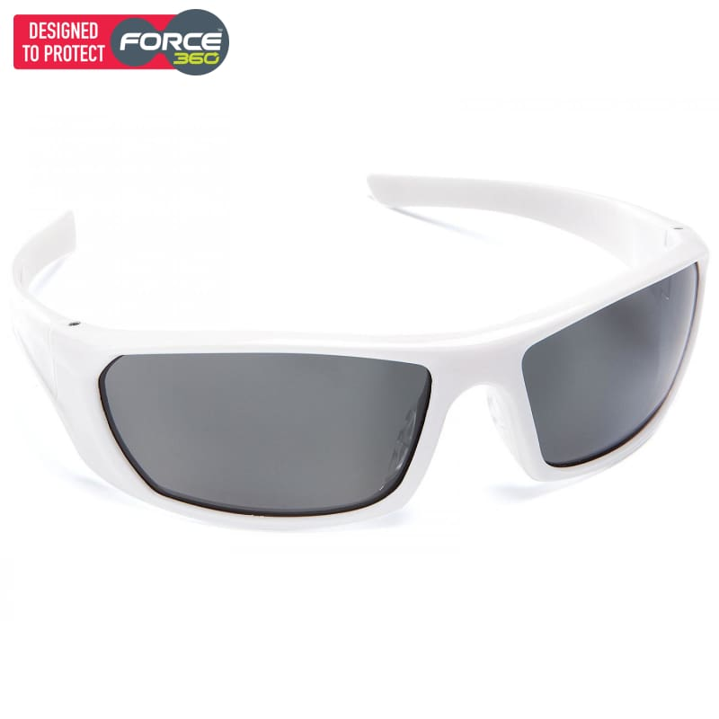 Force360 Mirage Smoke Polarised Lens Safety Spectacle White Wear