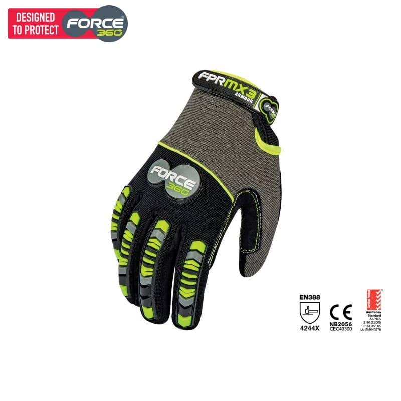 Force360 Mx3 Armour Mechanics Glove Black/lime Safety Wear