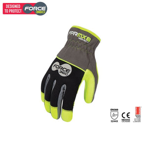 Force360 Mx8 Tradie Fast Fit Mechanics Glove Black/lime Safety Wear