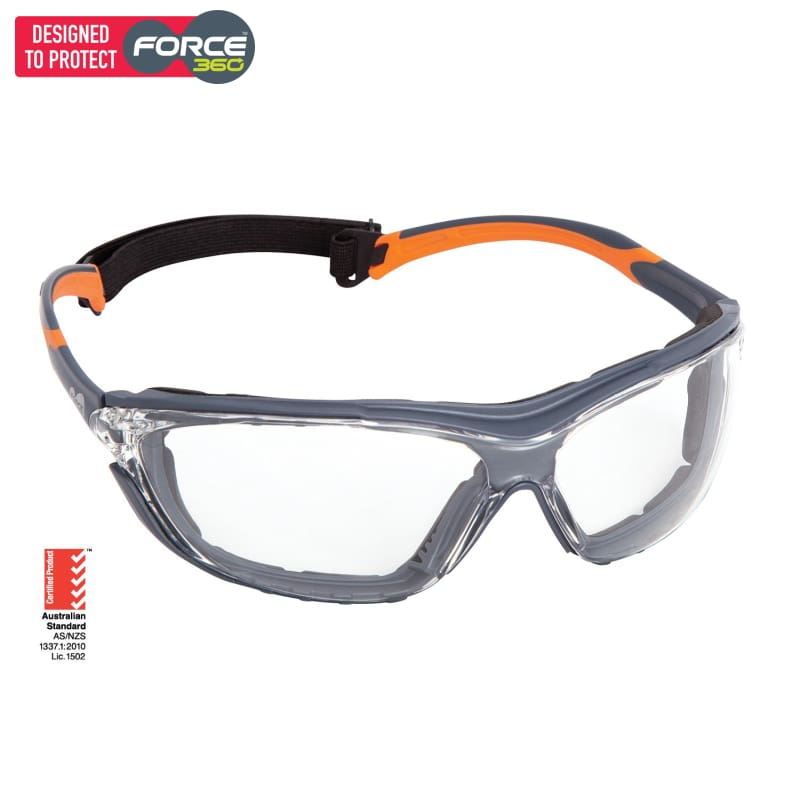 Force360 Neoguard Clear Lens Safety Spectacle With Gasket Orange Wear