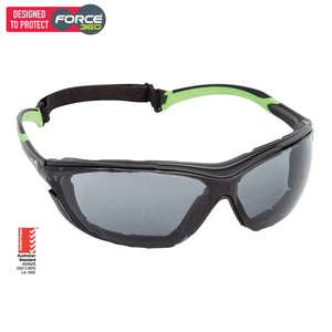 Force360 Neoguard Smoke Lens Safety Spectacle With Gasket Green Wear