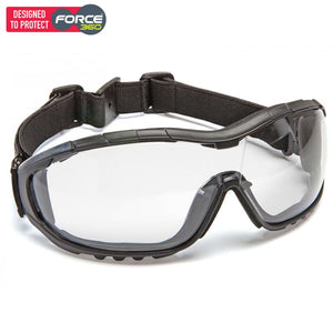 Force360 Oil & Gas Clear Lens Safety Spectacle (With Strap) Black Wear