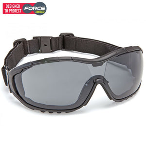 Force360 Oil & Gas Smoke Lens Safety Spectacle (With Strap) Black Wear
