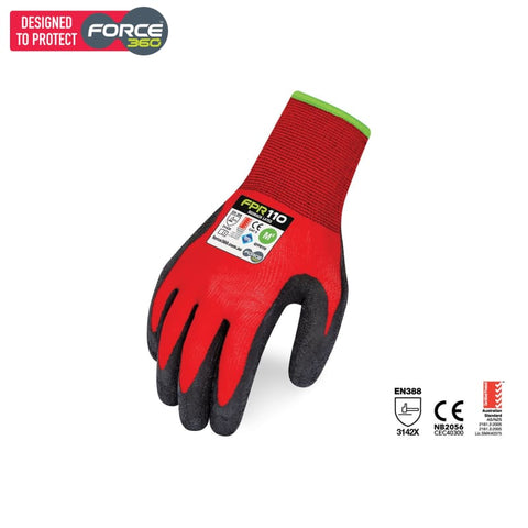 Force360 Redback Latex Glove Red Safety Wear
