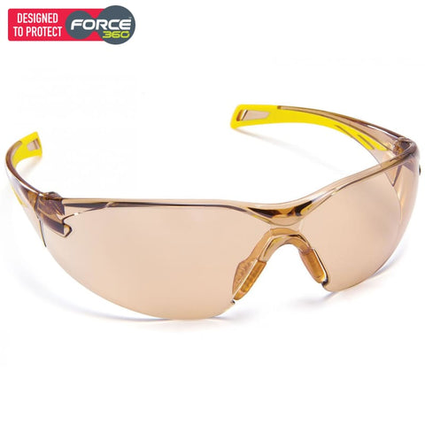 Force360 Runner Bronze Mirror Lens Safety Spectacle Yellow Wear