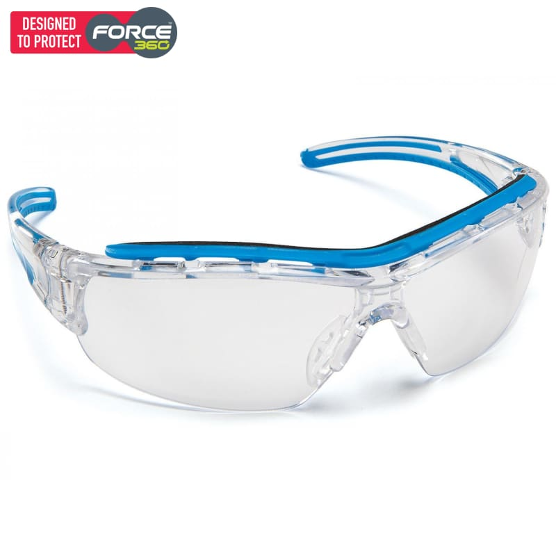Force360 Shield Clear Lens Safety Spectacle Blue Wear