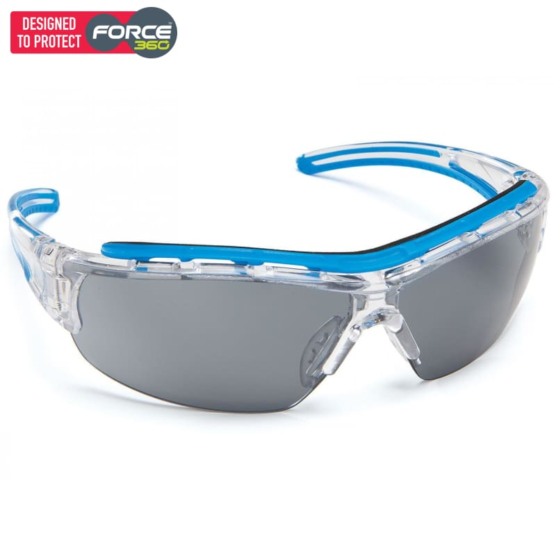 Force360 Shield Smoke Lens Safety Spectacle Blue Wear