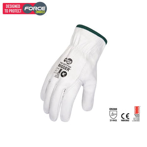 Force360 The Certified Cowhide Rigger White Safety Wear